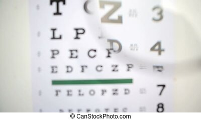 Magnifying glass scanning over eye test for opitician