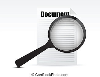 Magnifying glass - Search the document illustration design