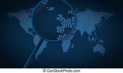 Magnifying glass searches and finds the city of Amsterdam on...