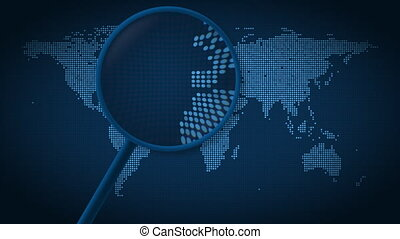 Magnifying glass searches and finds the city of Barcelona on...