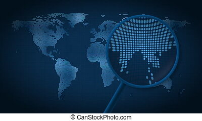 Magnifying glass searches and finds the city of Hong Kong on...