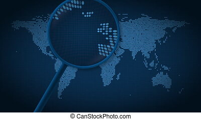 Magnifying glass searches and finds the city of London on...