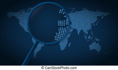 Magnifying glass searches and finds the city of Madrid on...