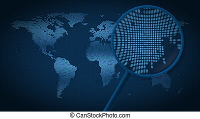 Magnifying glass searches and finds the city of Seoul on...