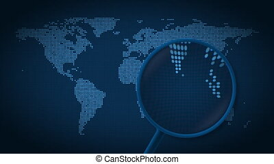 Magnifying glass searches and finds the city of Singapore on...