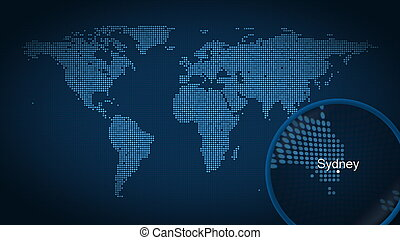 Magnifying glass searches and finds the city of Sydney on dotted world map. 3D rendering