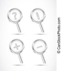 magnifying glass set illustration