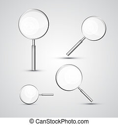 Magnifying Glass Set Isolated on Grey Background