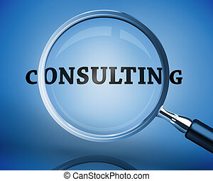 Magnifying glass showing consulting