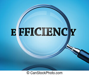 Magnifying glass showing efficiency word on blue background