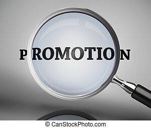 Magnifying glass showing promotion