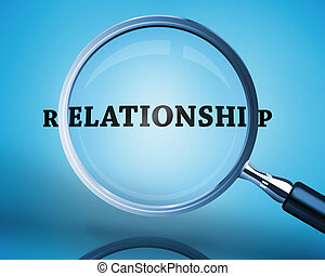 Magnifying glass showing relationsh