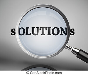 Magnifying glass showing solutions