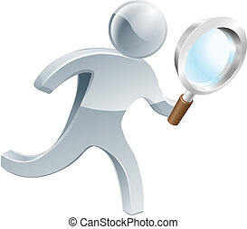 Magnifying glass silver person