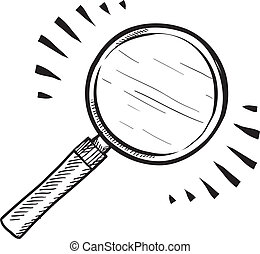 Magnifying glass sketch - Doodle style magnifying glass,...