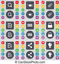 Magnifying glass, Socket, Clip, Text file, Battery, Lock, File, icon symbol. A large set of flat, colored buttons for your design.