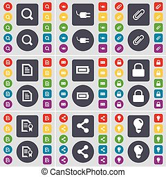 Magnifying glass, Socket, Clip, Text file, Battery, Lock, File, icon symbol. A large set of flat, colored buttons for your design. Vector