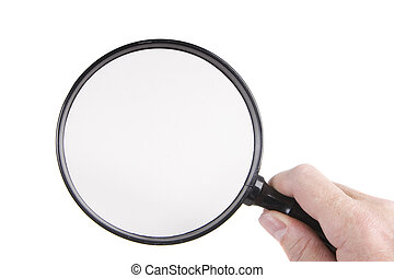 magnifying glass - Holding a magnifying glass on a white...