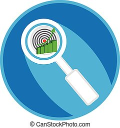 Magnifying glass symbol in blue ring with business graph