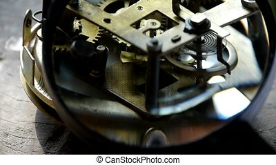 Magnifying glass to enlarge internal structure of Watch, bearings, gears.