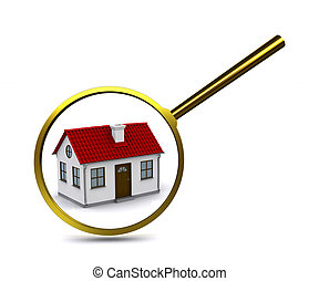 Magnifying glass to enlarge or reduce the elements of the house. Analysis of the structure