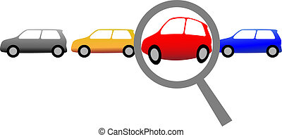 A magnifying glass finds, selects or inspects a car in a row of autos: search & shop for new or used cars.