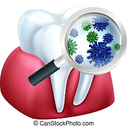 Magnifying Glass Tooth Bacteria Concept