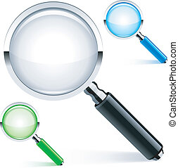Magnifying glass. - Three magnifying glass with color lens...