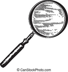 Vintage engraving of a magnifying glass isolated on white