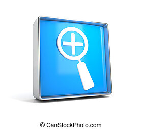 Magnifying glass - web button isolated on white background