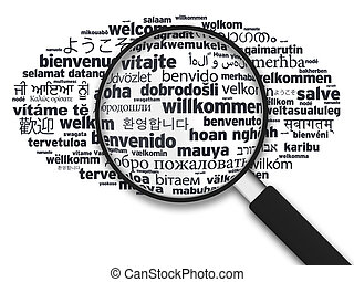 Magnifying Glass - Welcome in different languages -...