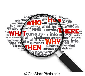 Magnified illustration with the words What, who, how, where, when, why on white background.