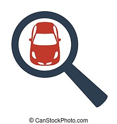 magnifying glass with a car on white background.