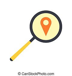 Magnifying glass with a map mark flat icon
