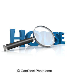 Magnifying glass with blue house word