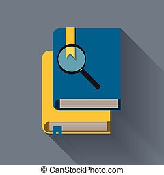 Magnifying glass with books