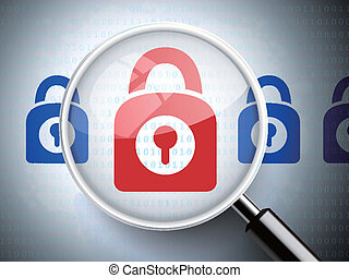 magnifying glass with closed padlock icon
