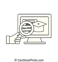 magnifying glass with computer
