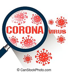 Magnifying glass with Coronavirus Covid19