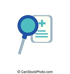 magnifying glass with document of hospital