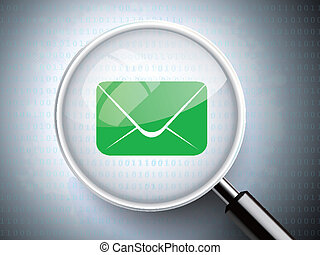 magnifying glass with email icon