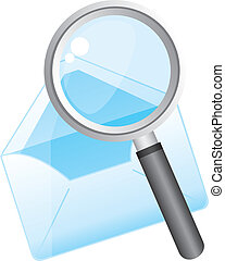 magnifying glass with envelope