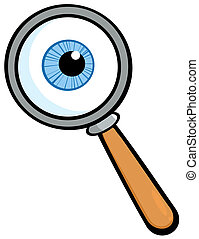Magnifying Glass With  Eye Ball Cartoon Character