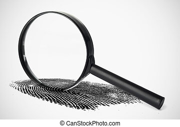 Magnifying glass with fingerprint against a white background