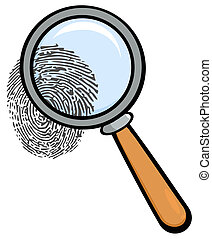 Magnifying Glass With Fingerprint Cartoon Character