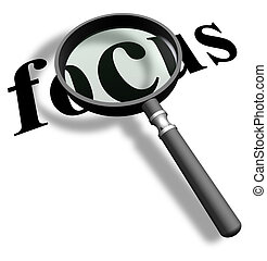 Magnifying glass with focus - Magnifying glass with word...
