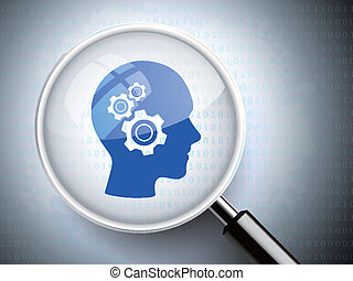 magnifying glass with gears on head icons