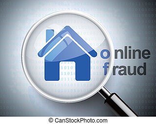 magnifying glass with home icon and online fraud word on...