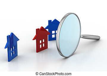 Magnifying glass with home sign
