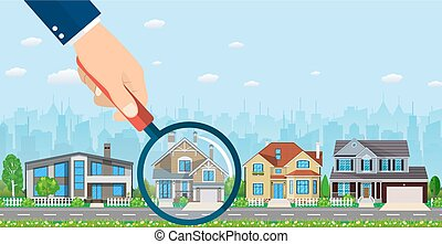 Magnifying glass with house. Real estate concept. Search for...